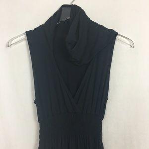 Bebe Sport Hooded Sleeveless Maxi Dress - Black